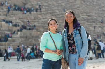 students by the pyramids